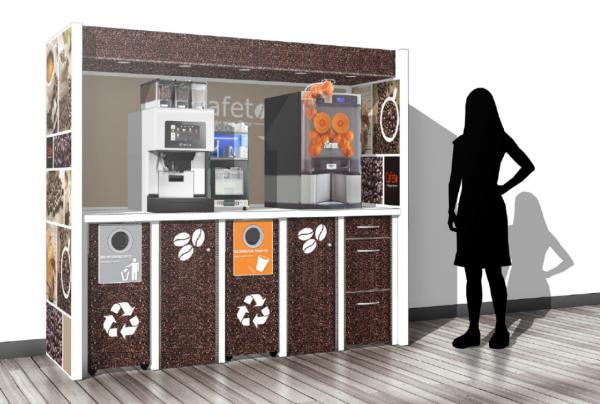 Coffee Corner Ulsen by Flavura: 5 Module aus Karton für Table Top Kaffeeautomaten