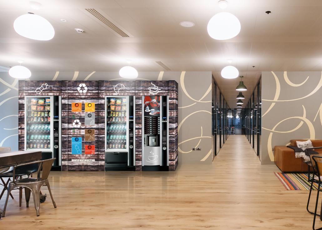 Mülltrenner mit 3 Fächern aus Karton für Vending Automaten & Automatenstationen by Flavura: Getränkeautomaten, Kaffeeautomaten, Kaffeevollautomaten, Foodautomaten, Snackautomaten, Verkaufsautomaten, Verpflegungsautomaten, Warenautomaten, Kombiautomaten