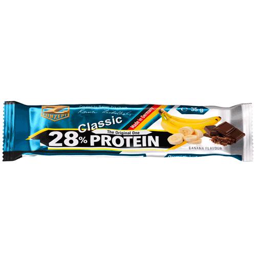 Protein Riegel: 28% Protein Bar, 24 x 35g Z-Konzept by Flavura: Banane mit dunkler Schokolade