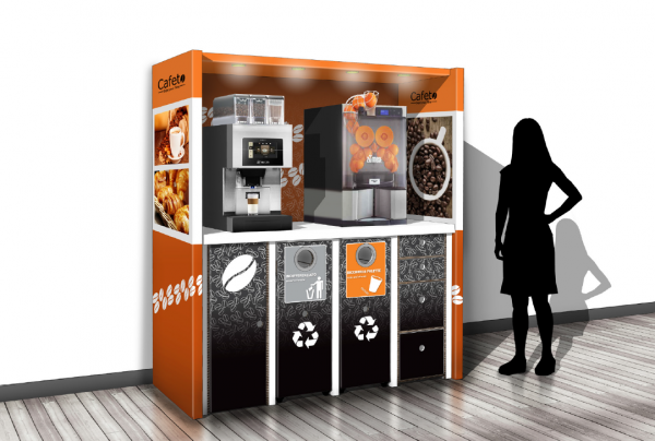 Coffee Corner Ulsen by Flavura: 4 Module aus Karton für Table Top Kaffeeautomaten für den HoReCa-Bereich: Hotel, Restaurant, Café