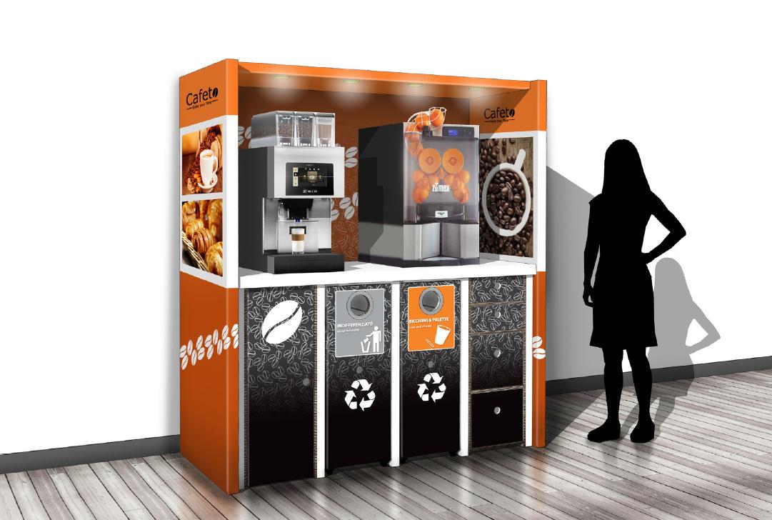 Coffee Corner Ulsen für Table Top Kaffeeautomaten by Flavura aus Karton für den HoReCa-Bereich: Hotel, Restaurant, Café