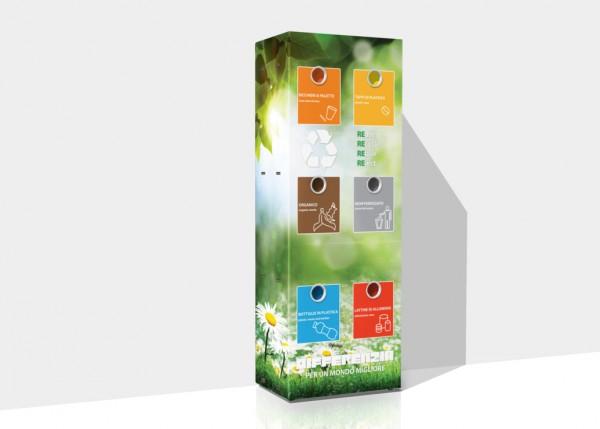 Mülltrenner aus Karton mit 6 Fächern für Vending Automaten & Automatenstationen by Flavura